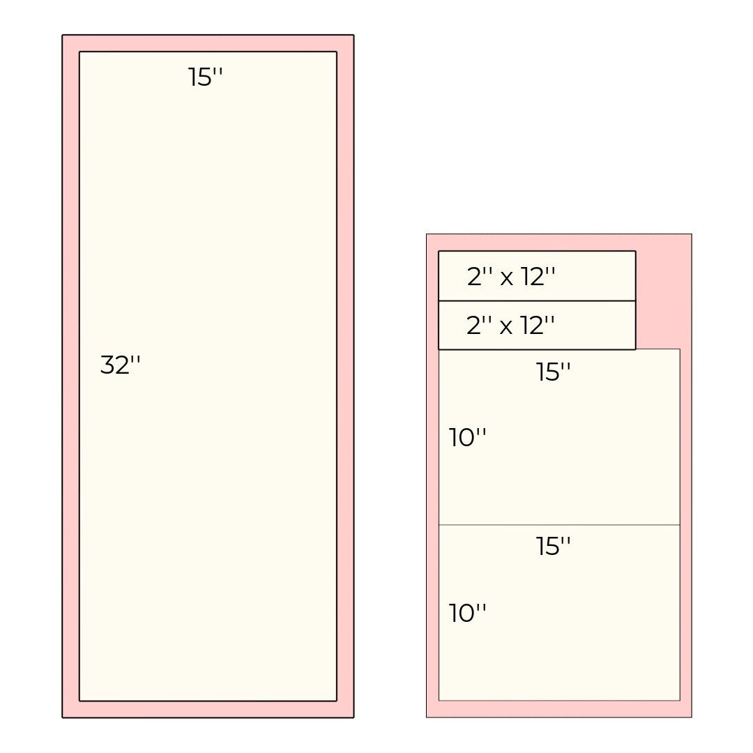 Cutting diagram for the quilted pieces.