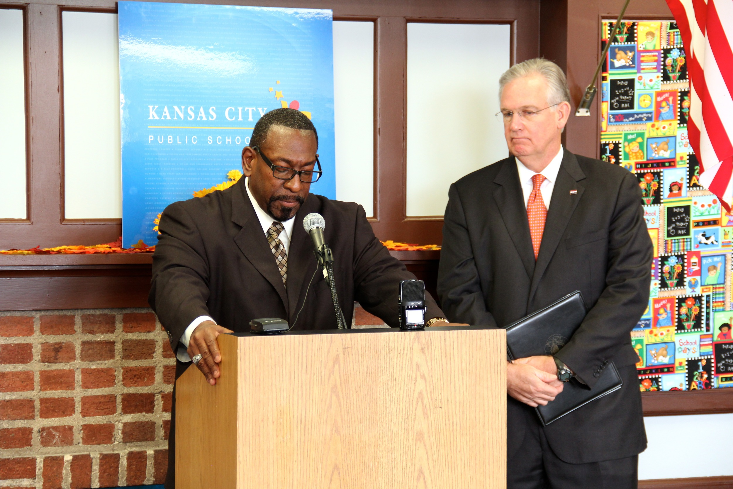 Kansas City Public School Supt. R. Stephen Green and Gov. Jay Nixon.