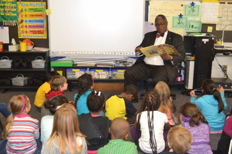 Kansas City, Missouri Mayor Sly James reads to first graders at Martin City K-8 in the Grandview School District.