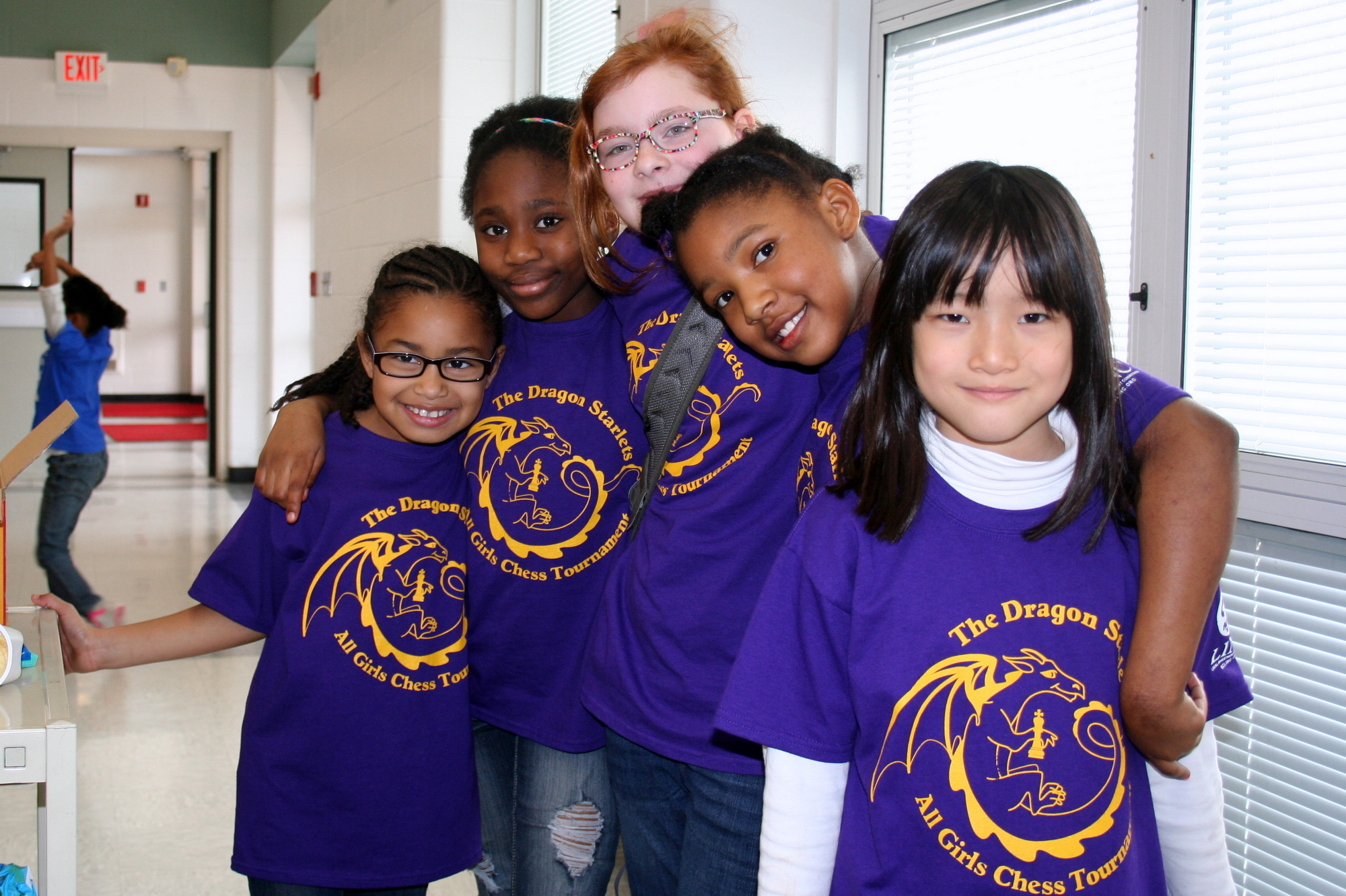 The Dragon Starlets Border Star Chess Club at Holliday Montessori during the 2014 LINC Chess Girls Tournament.