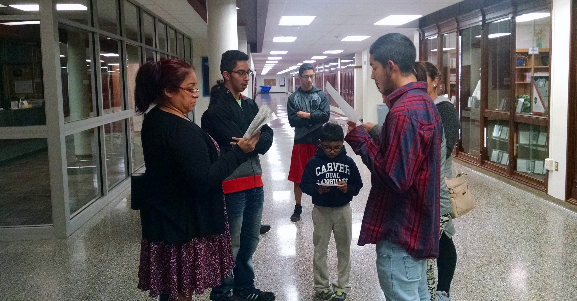 Students rehearse a Spanish play to be performed during the Christmas Around the World program at Mallinson.