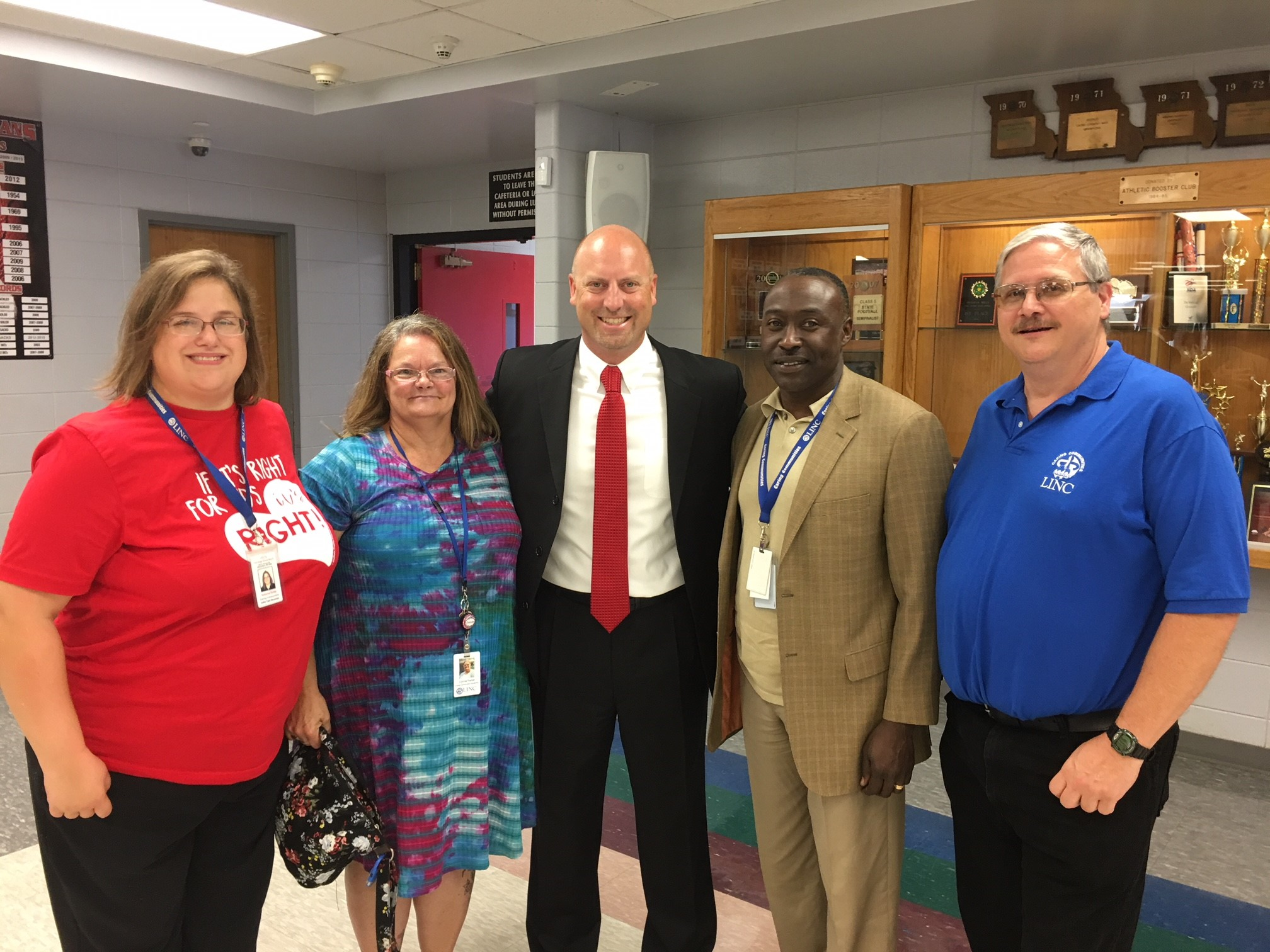 Fort Osage School Supt. Jason Snodgrass with LINC site coordinators