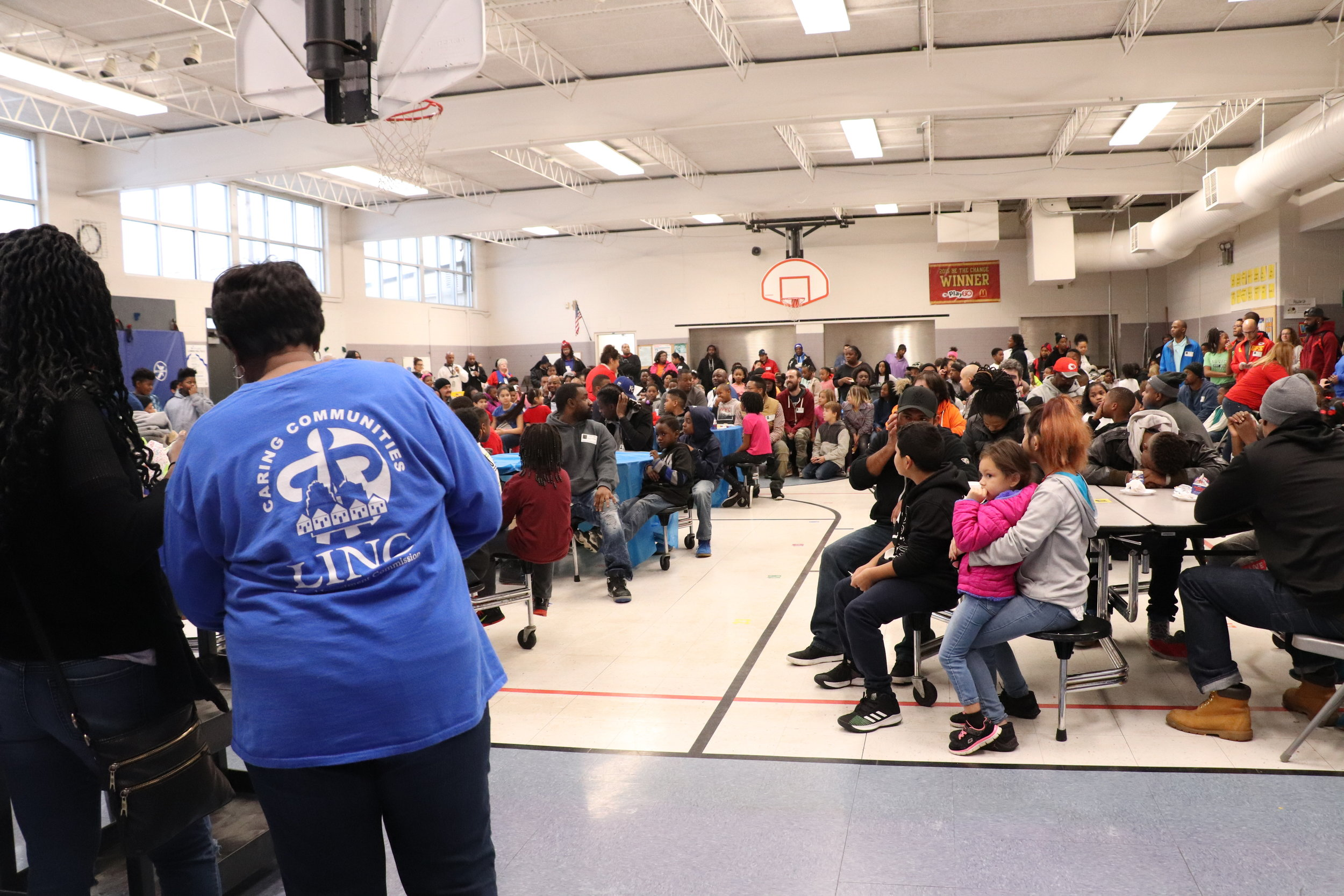Families at Johnson Elementary gather for a Donuts for Dads event.