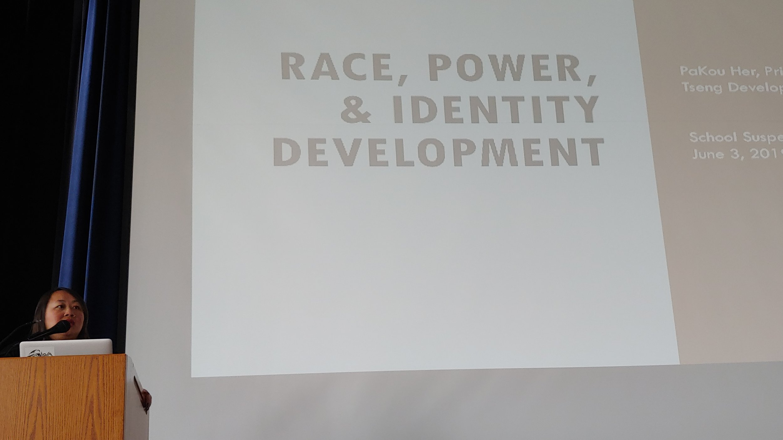 Racial equity consultant PaKou Her gets Kansas City's 2019 School Suspension Summit rolling, saying the participants from schools and community organizations will have to be comfortable talking about power.