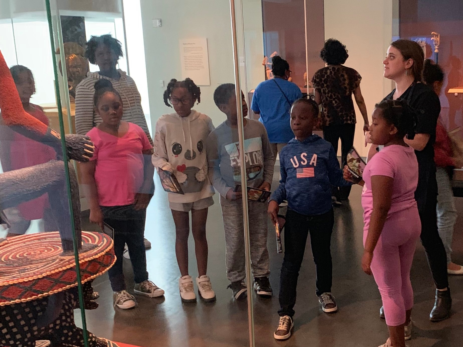 "LINC children from Wendell Phillips Elementary School take in the Nelson-Atkins Museum's ""30 Americans"" exhibition and other artworks. Photo by Jamie Braden"