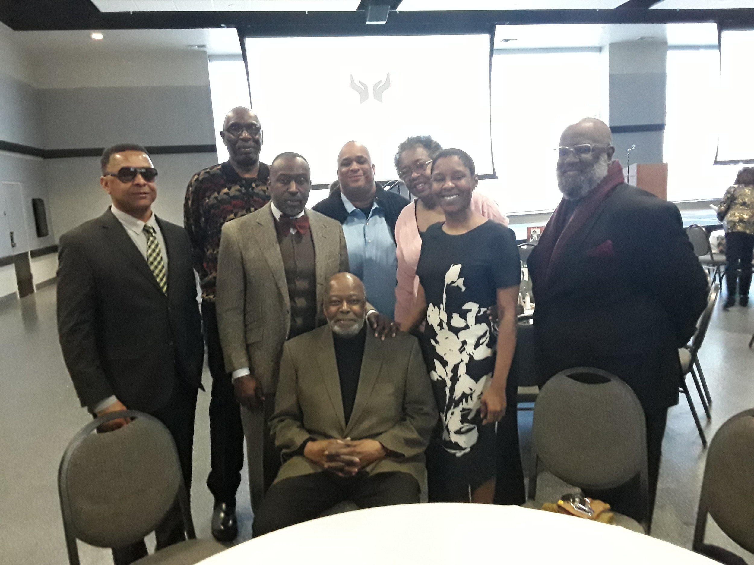 Herb Freeman with LINC site coordinators at a 2019 luncheon for the Black Archives of Mid-America