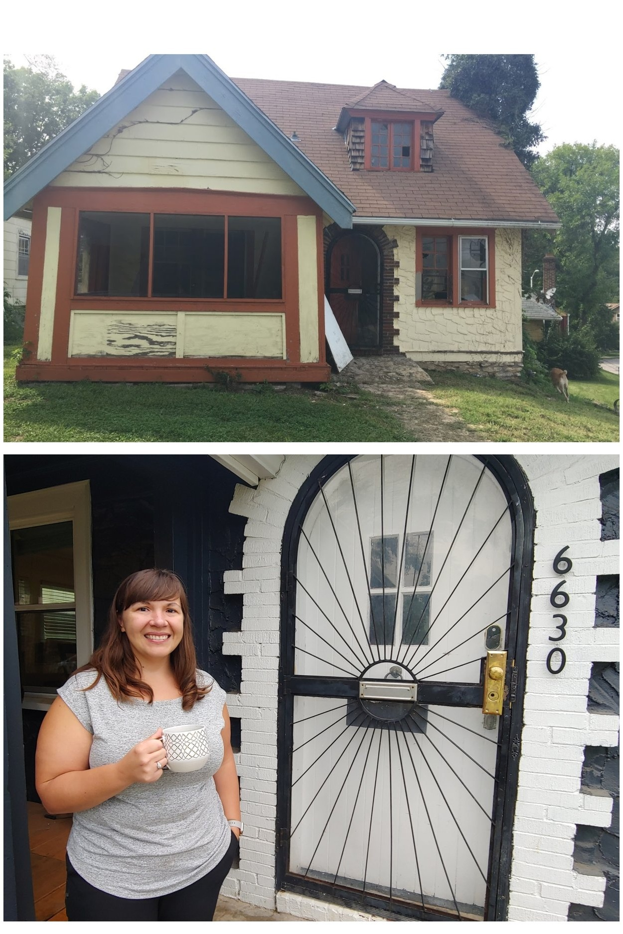 Katie Chepulis enjoys coffee out front of the home she bought and lives in on Broadmoor Road, after restoring it from the condition shown above.