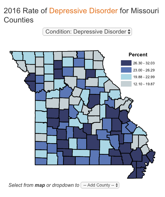 One of exploreMOhealth's reports breaks down the rise in cases of depressive disorder statewide.
