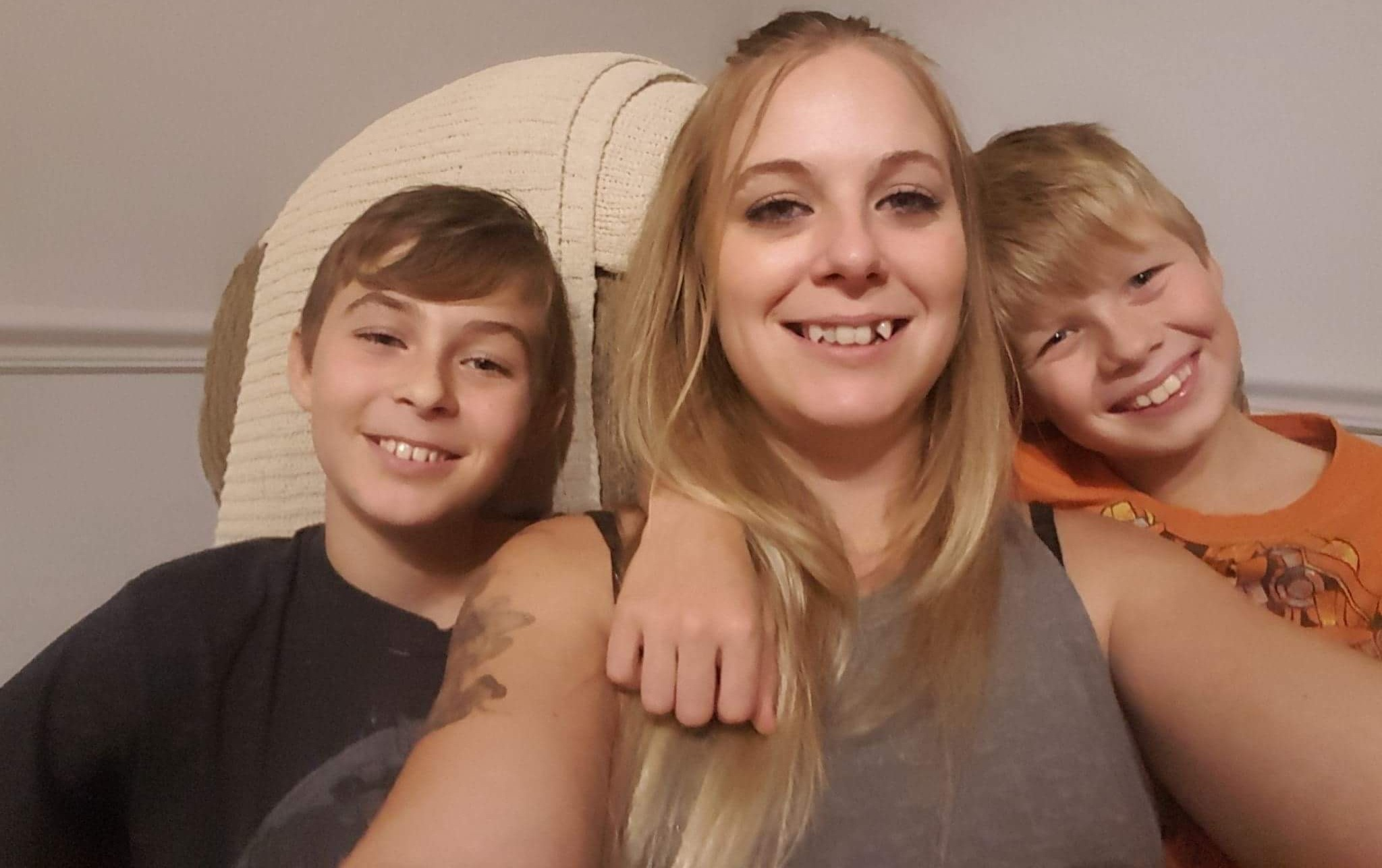 From the left (in black) Xander 12 yrs, Jennnifer (Mother to Xander and Chase) and Chase (in orange) 9 years.