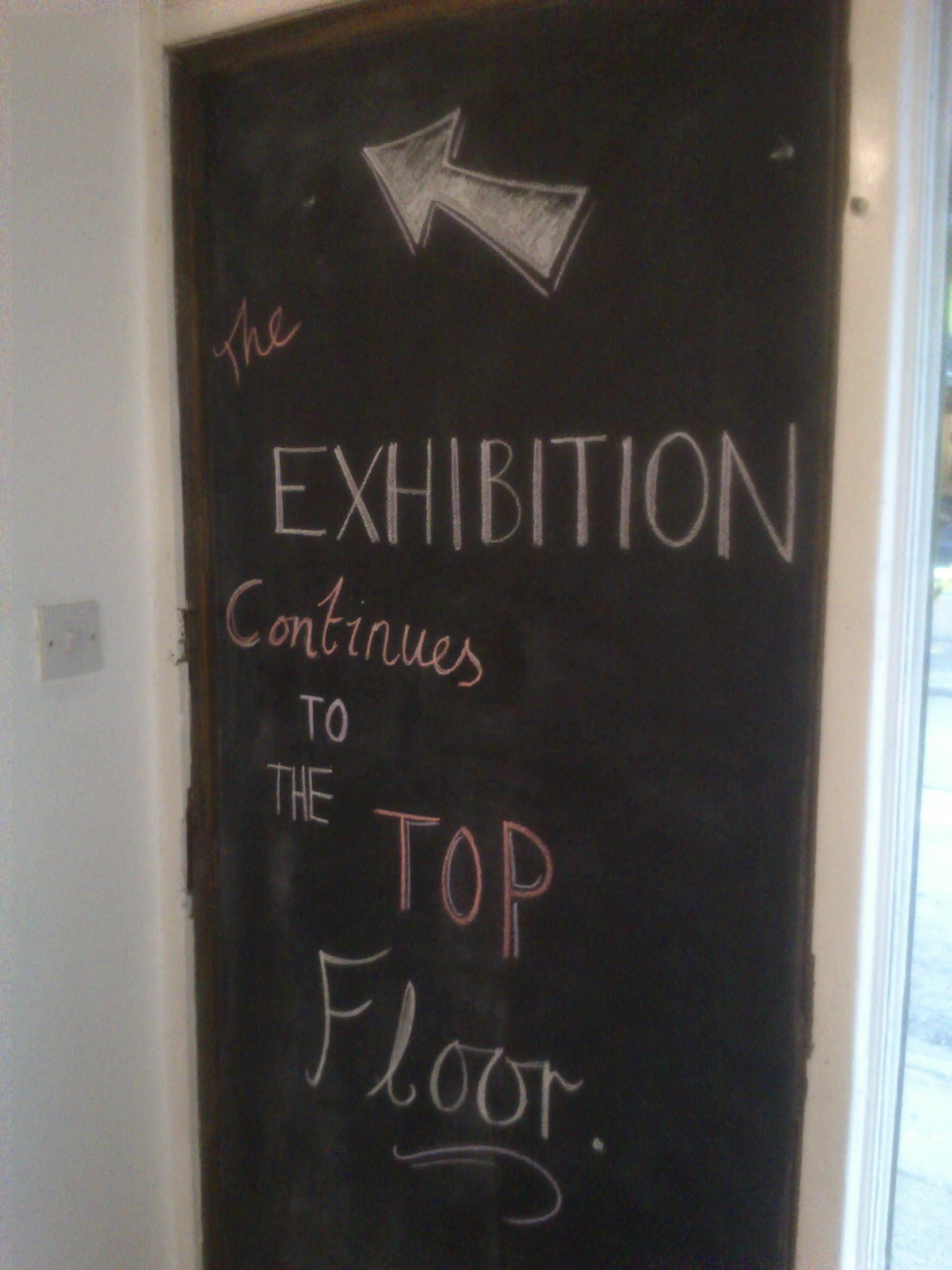 Brilliant that MadLab's had a chalkboard. Georgia hand drew some signs to show visitors where to go. Looked really good and made the exhibition flow well.