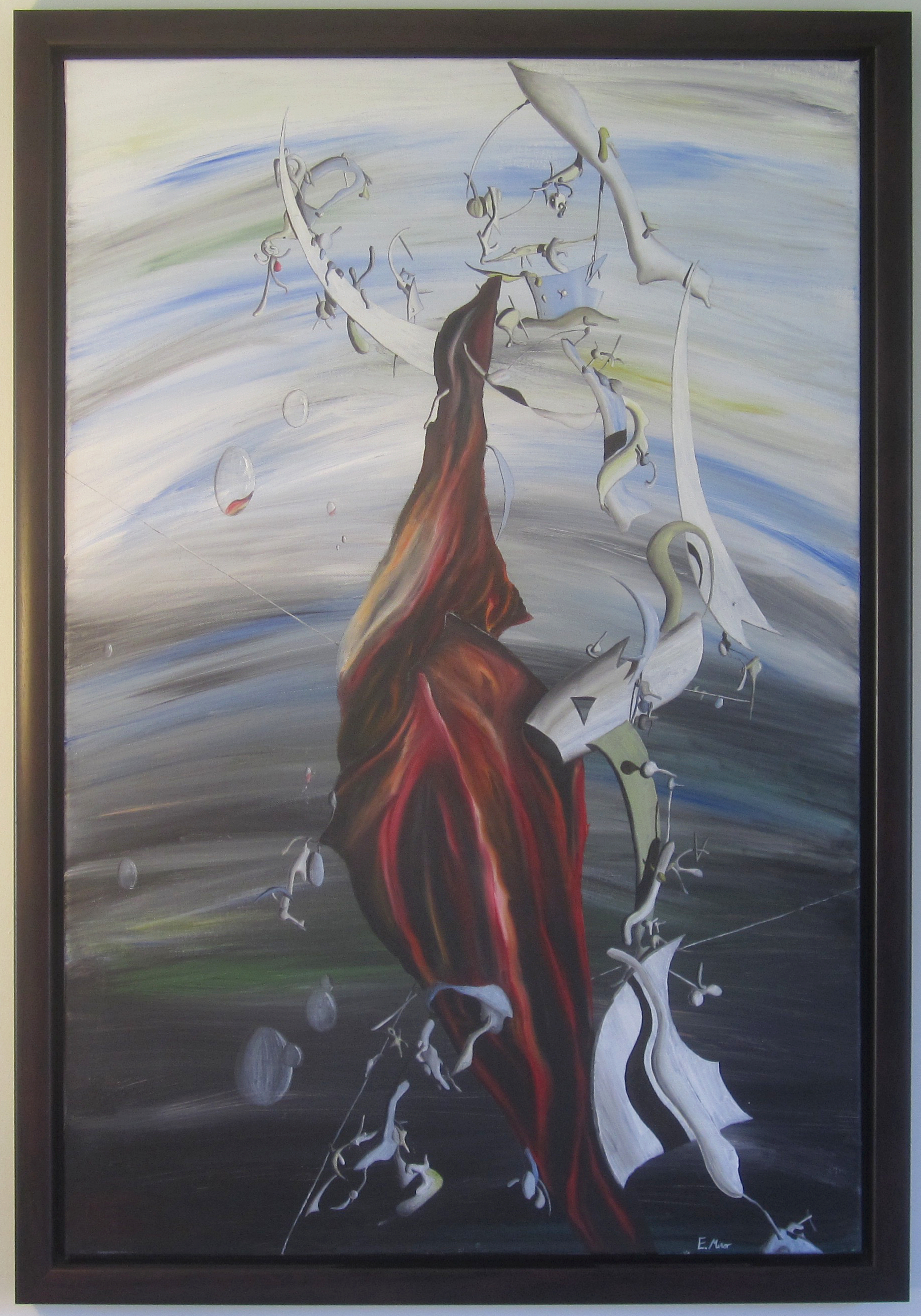 'Figure Wearing Red' is one of my earliest works, certainly very different to what I do now. At the time I painted it in 2008 I was really interested in Surrealism especially artists like Yves Tanguy, Max Ernst and Salvador Dali. It has been with me for many years, however the time has come for it to move on...it is making its way to Baltimore which is very exciting