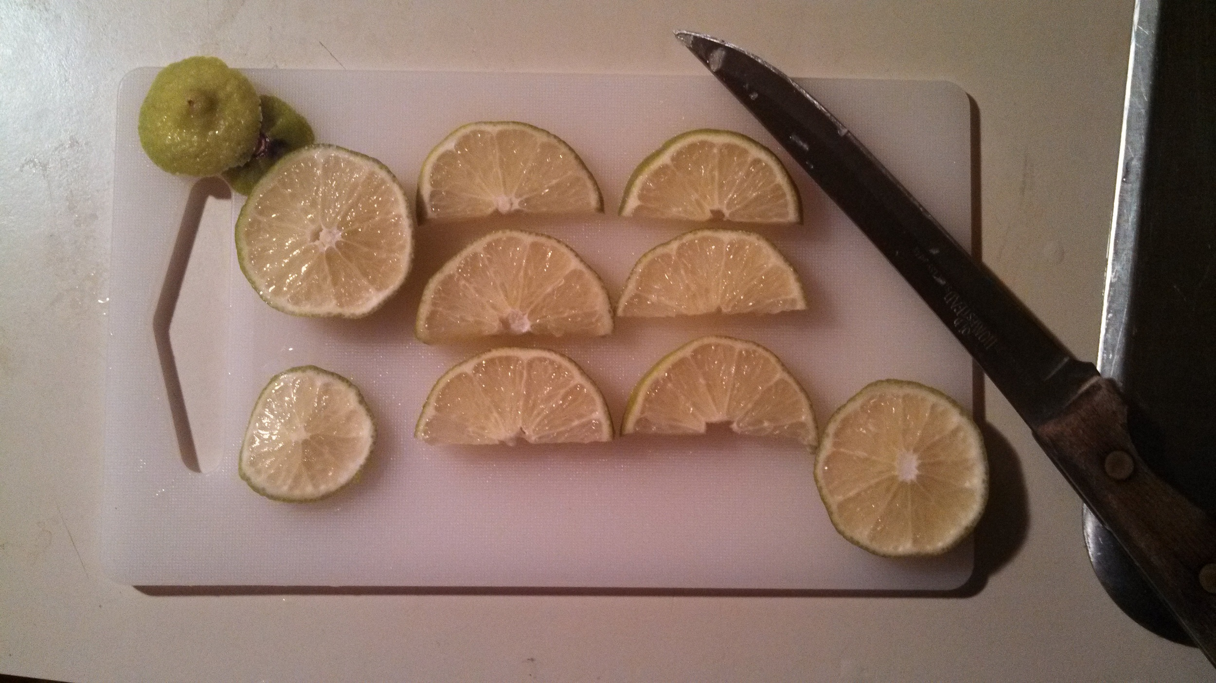 Cutting lime for the prep.
