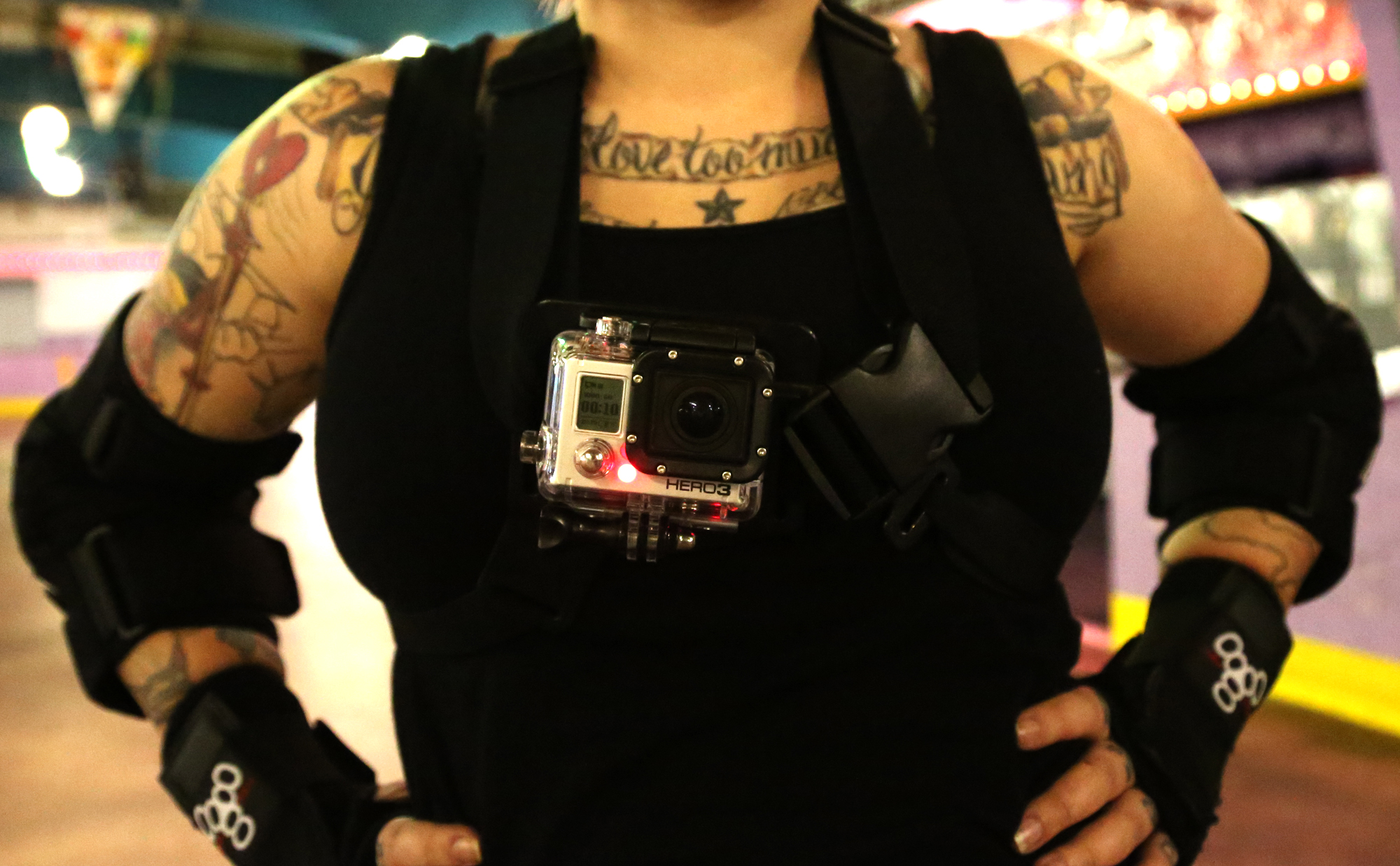 Derby woman wears GoPro on her chest during practice.