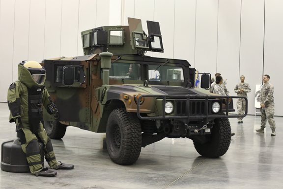 The Langley Air Force Base 100th Anniversary Gala showcase a tactical vehicle Humvee and bomb suit at Hampton Roads Convention Center, Saturday, Sept. 17, 2016.