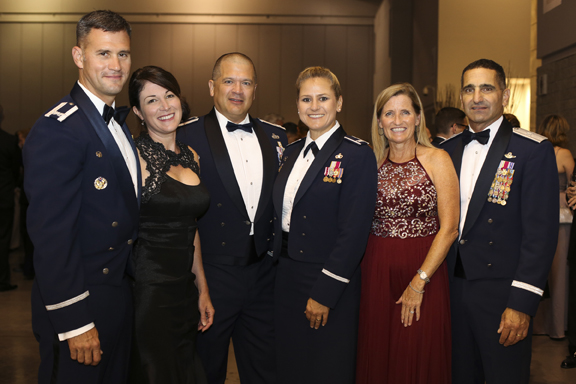 From left, 1st Fighter Wing Col Pete Fesler, Jeannine Fesler, Retired Col Rich Miller, 633 Air Base Wing Commander Col Caroline Miller, Kim Nahom, Deputy Director, Plans and Programs of Air Combat Command Gen David Nahom are at Langley Air Force Base 100th Anniversary Gala, Hampton, Saturday, Sept. 17, 2016.