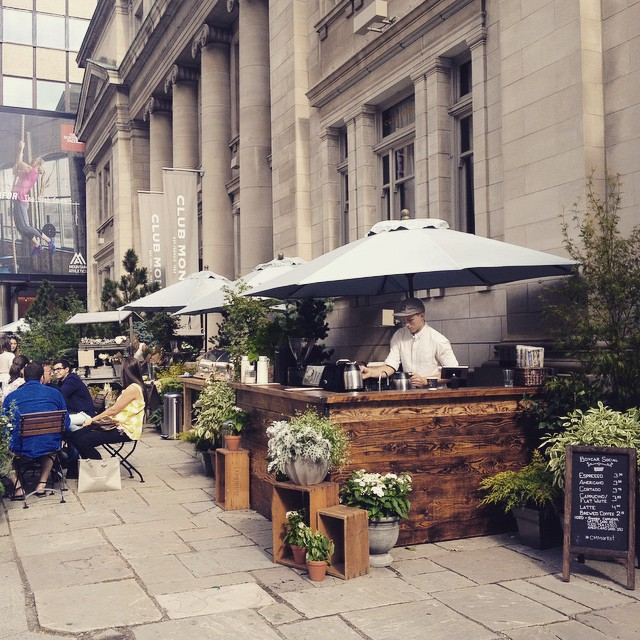 I love summer in Toronto. Temporary setup of Boxcar Social. Coffee corner! #boxcarsocial #coffee