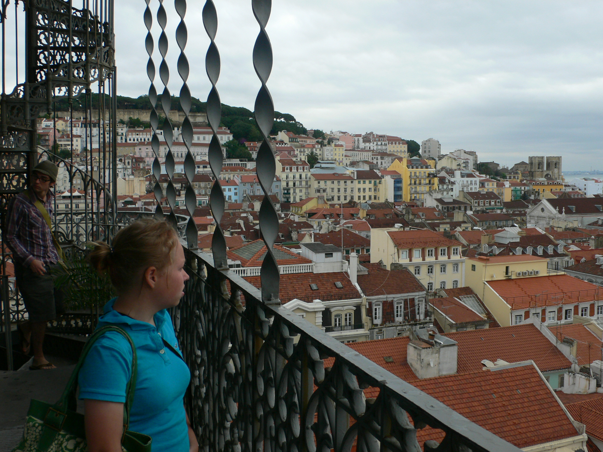 Aerial shot of Lisbon from Santa Justa elevator.