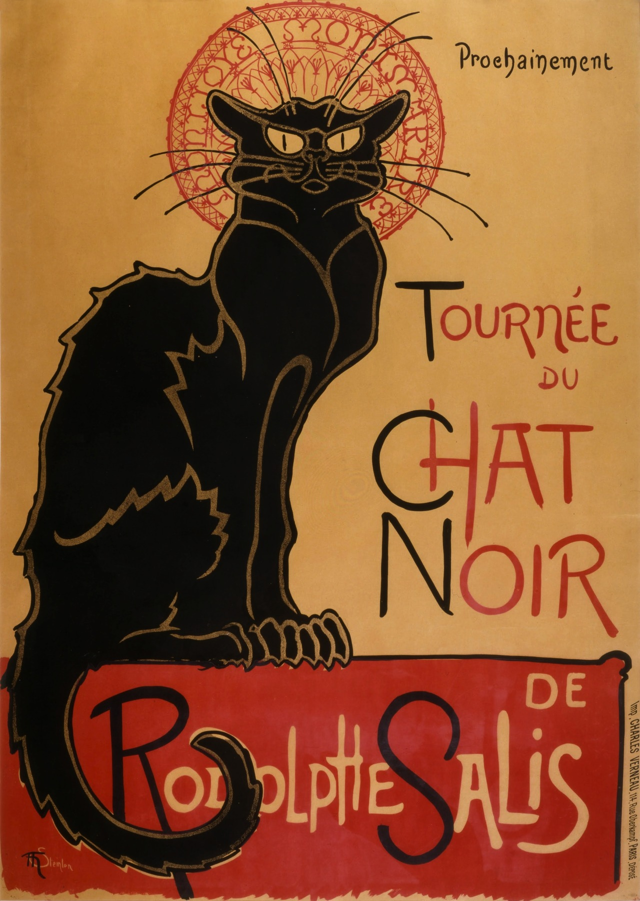 Debbonique Brown-Murray    Le Chat Noir    19th century France (1896)   The mildly angry looking cat is kind of creepy, but hypnotizing at the same time.   This was an advertisement for a cabaret in France. The image and classic text go hand in hand.