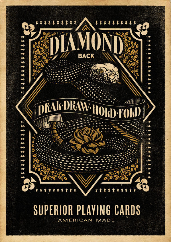 1. Tyler Ramsdell   2. Diamond back playing cards   3. 2013   4. I very much enjoy typography in modern culure, also the rustic style works very well with the overall image.    5. The image does a good job of selling the overall idea/ project. It is very appealing to the eye.