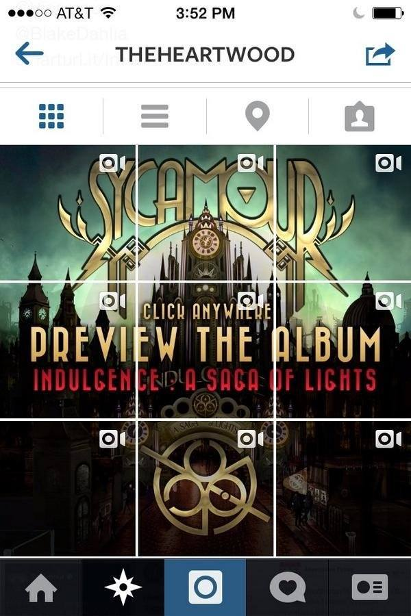 John Webb   Sycamour pre album releaseinstagram layout   2014   Interesting use of the video feature on instagram as well as the fixed layout of 3 pictures per horizontal row, extremely interesting considering it wasn't meant to showcase images like this.   Artwork is used to make the album more attractive, use of fonts and colors that compliment the feel of the album as a whole.