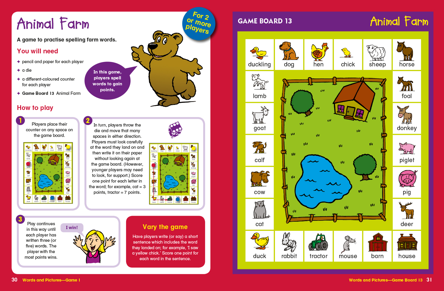 Sample spread from Word games level 1