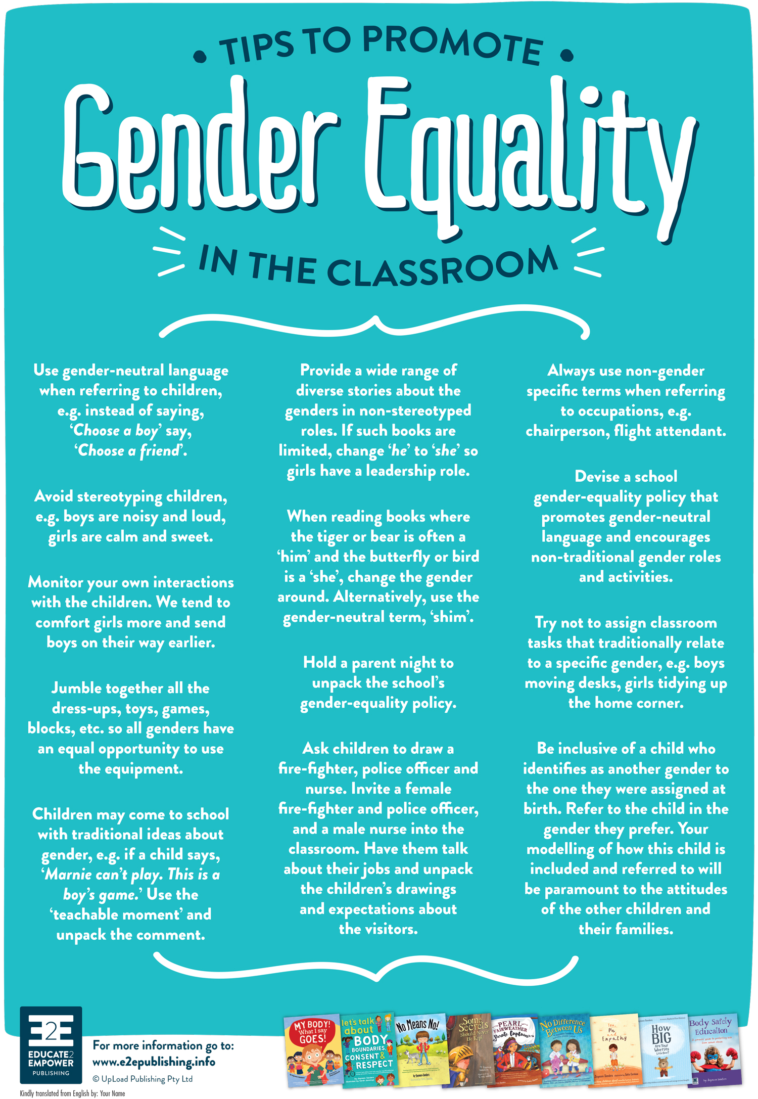 """Tips to Promote Gender Equality in the Classroom - Right/control click on on the """"Download"""" button and select"""