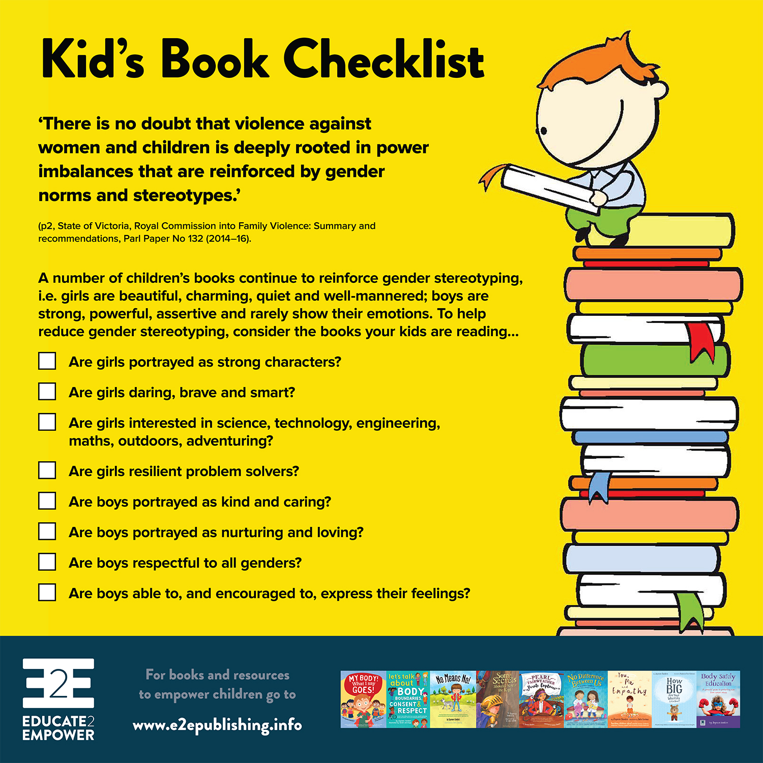 Kid's Book Checklist - To help promote equality between genders, through reading books that don't reinforce stereotyping of genders or gender-based roles!Would you like a copy?To download, right/control click on on the linkand select