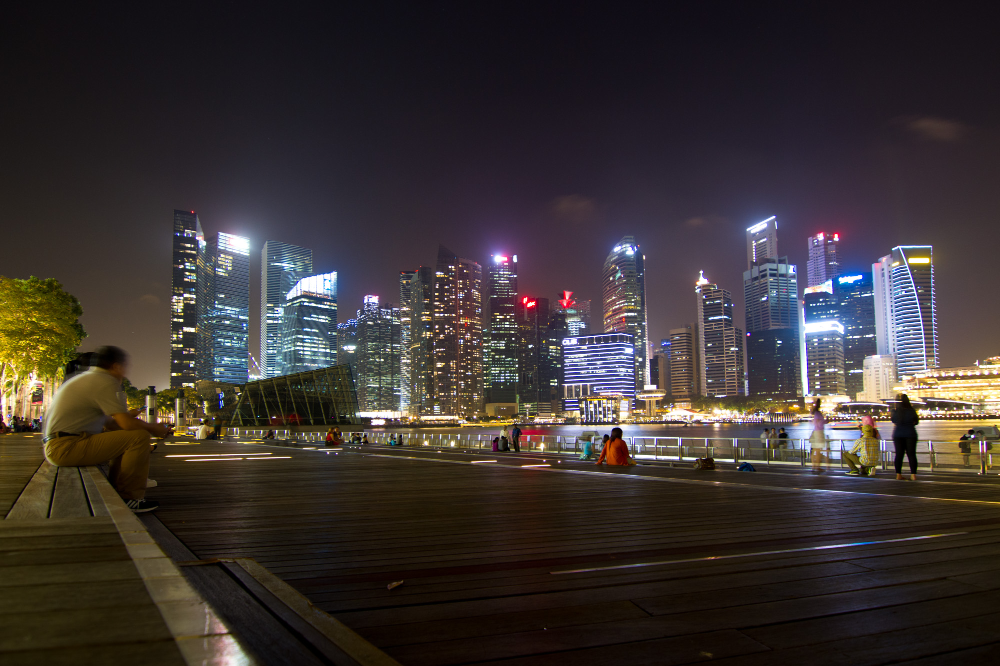 View on the Singpore skyline from Marina Bay Sands.