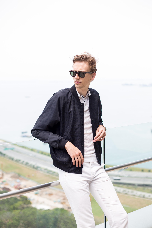 I am wearing a  Paul Smith Bomber jacket  via  Club21 , Zara Polo shirt, GANT trousers and Ray-Ban Wayfarer sunglasses.