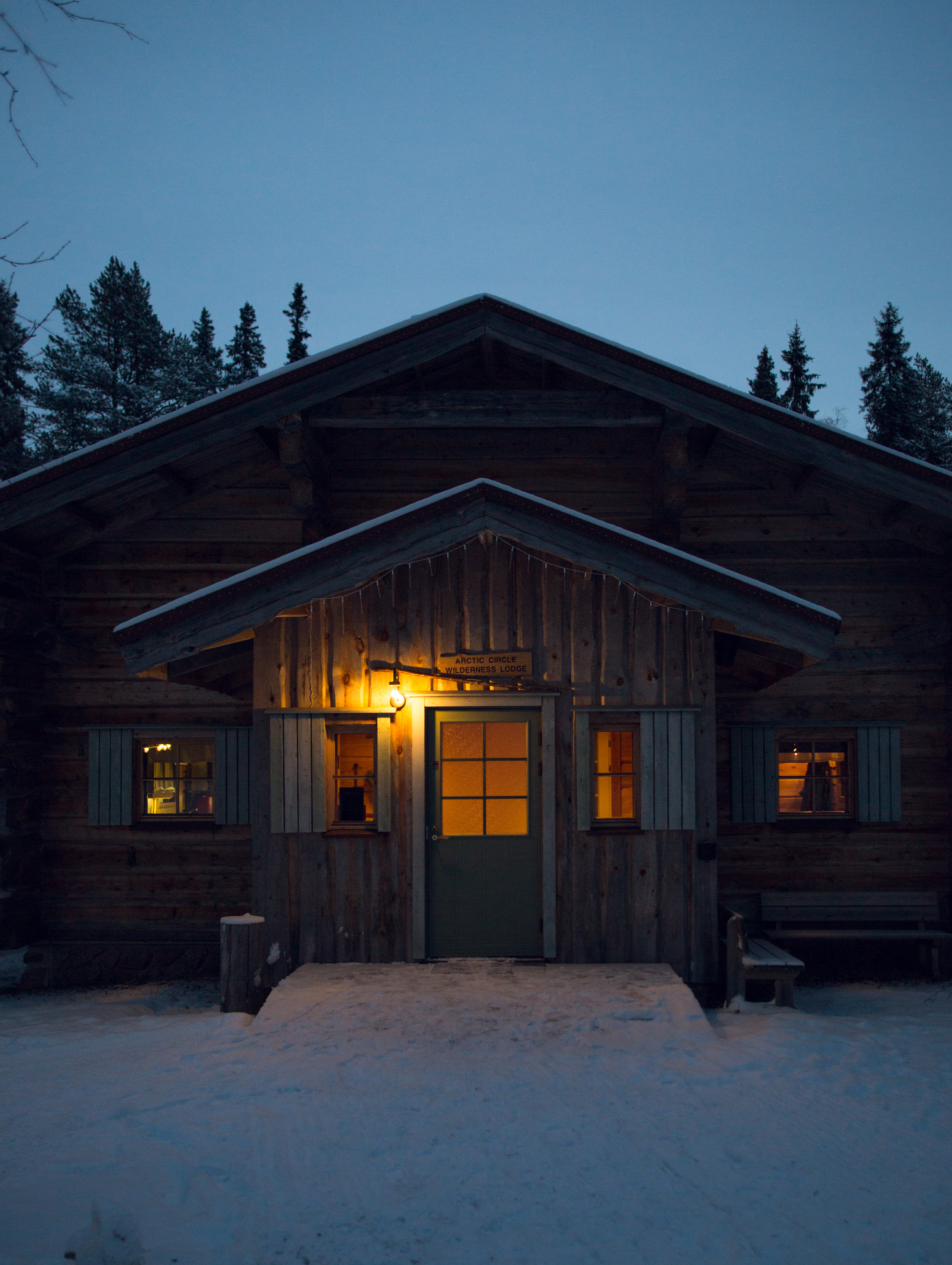 Entrance to the Arctic Wilderness Lodge, Rovaniemi, at 9 AM.