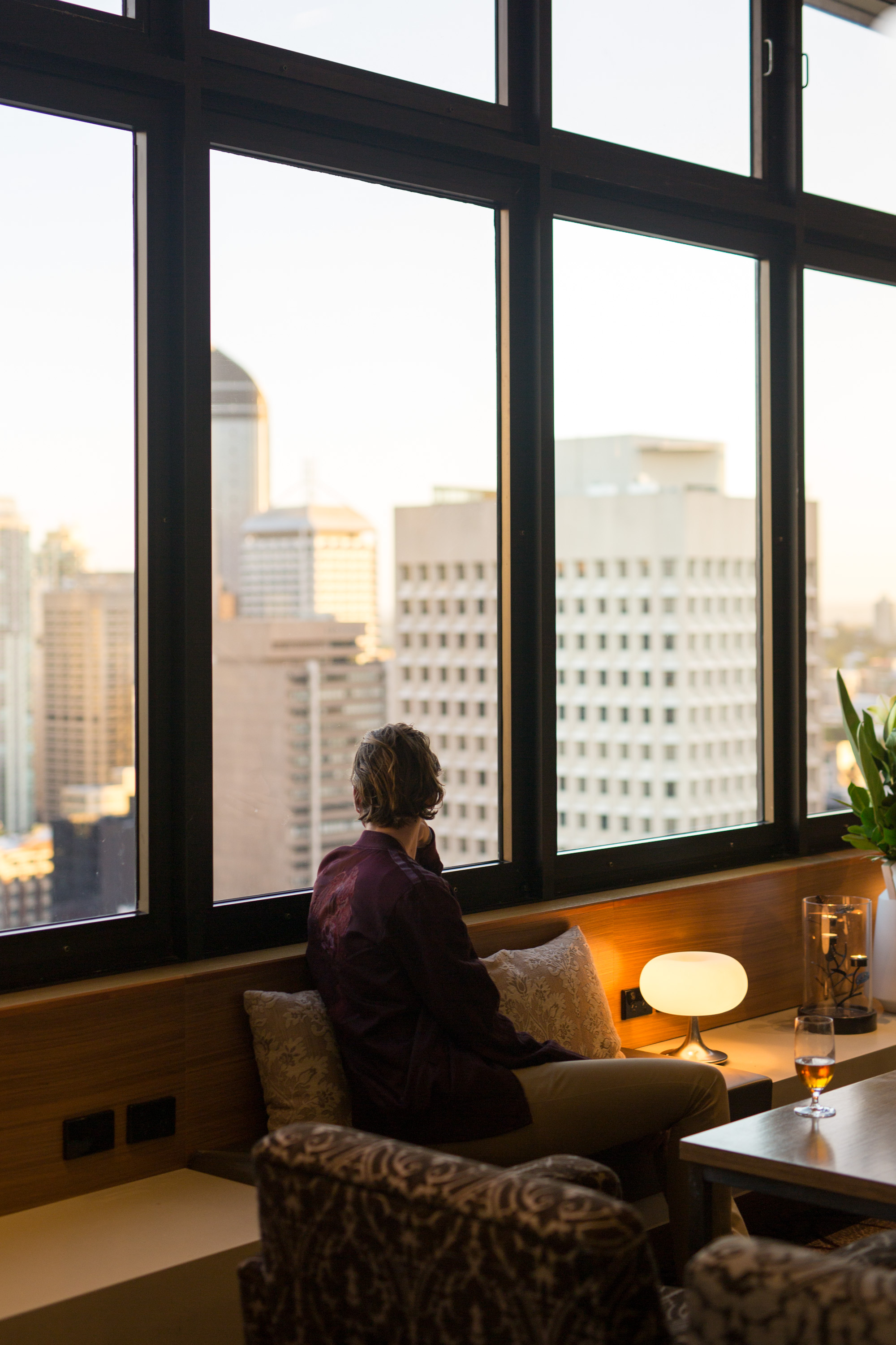 Drinks at the Sofitel Club Lounge while watching the sun set over Brisbane.