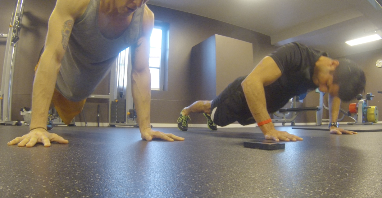 Fellow Fresh trainer Rasa Mojdehi and I doing the  4 minute push-up test . 100 seems like an easy goal til you actually try it...  .
