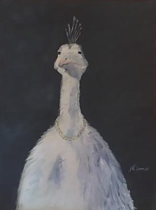 Bird with Pearls - 11x14