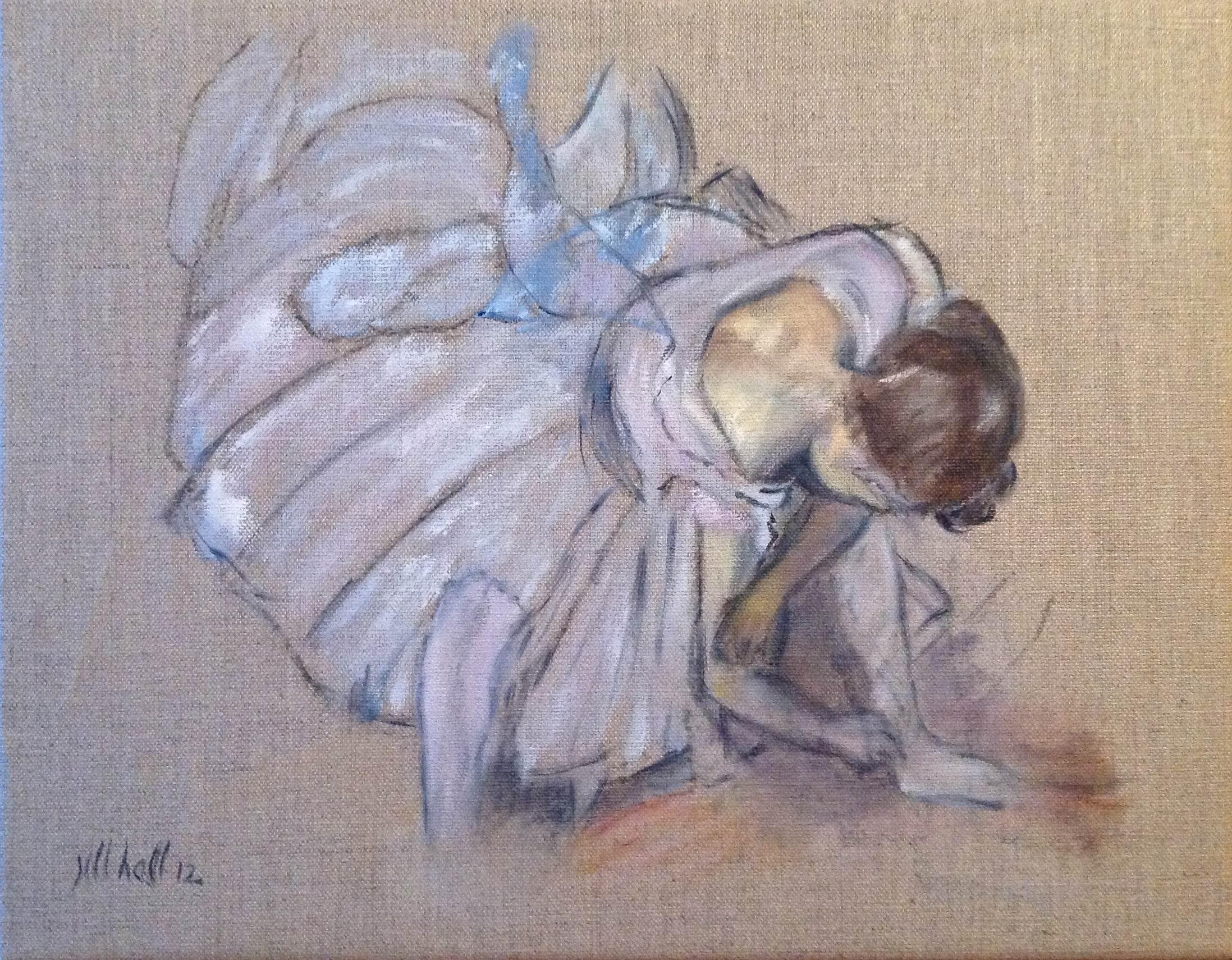 Dancer Adjusting Her Shoe - 11x14 on linen