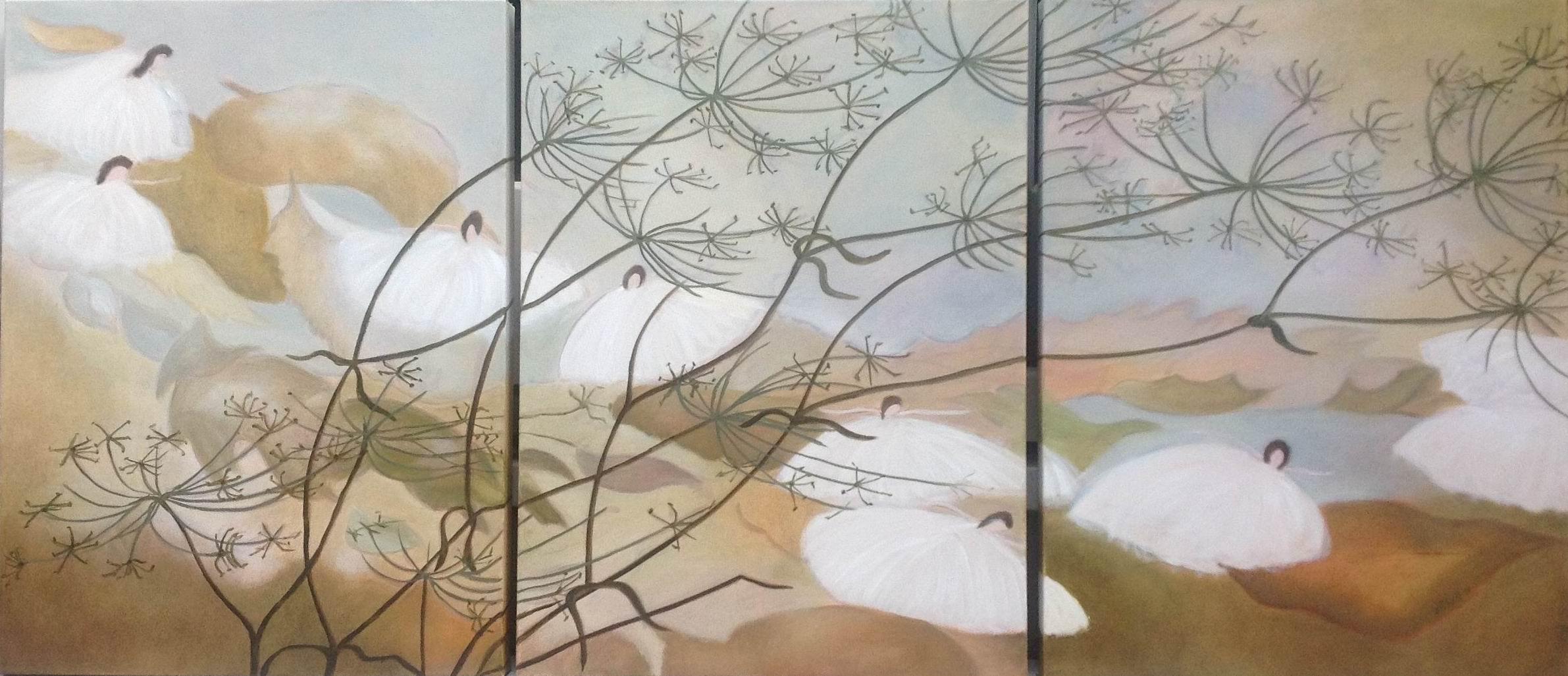 """Fantasia """"Nutcracker Suite"""" - triptych 24 X 60"""