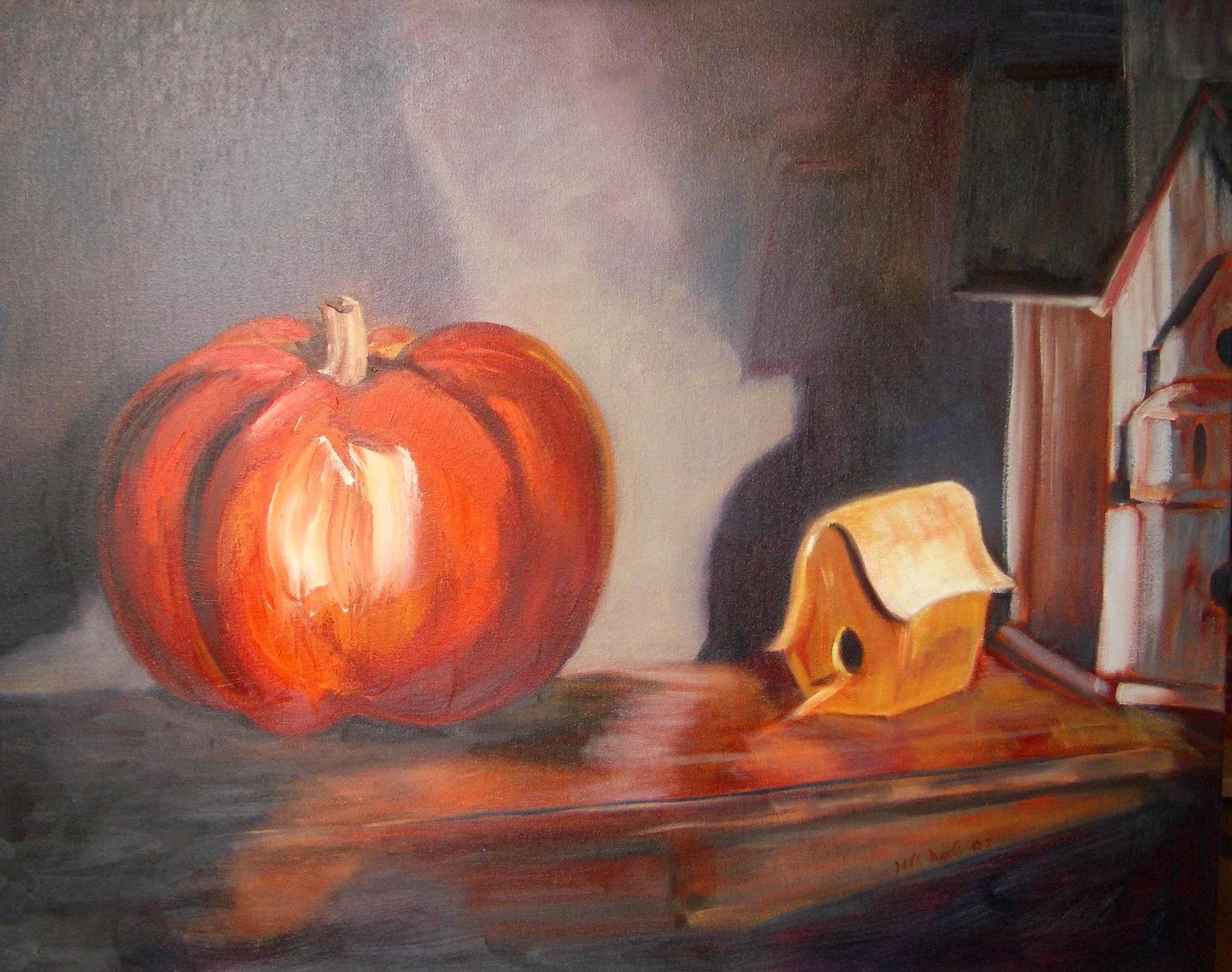 Pumpkin and Birdhouse - 24x30