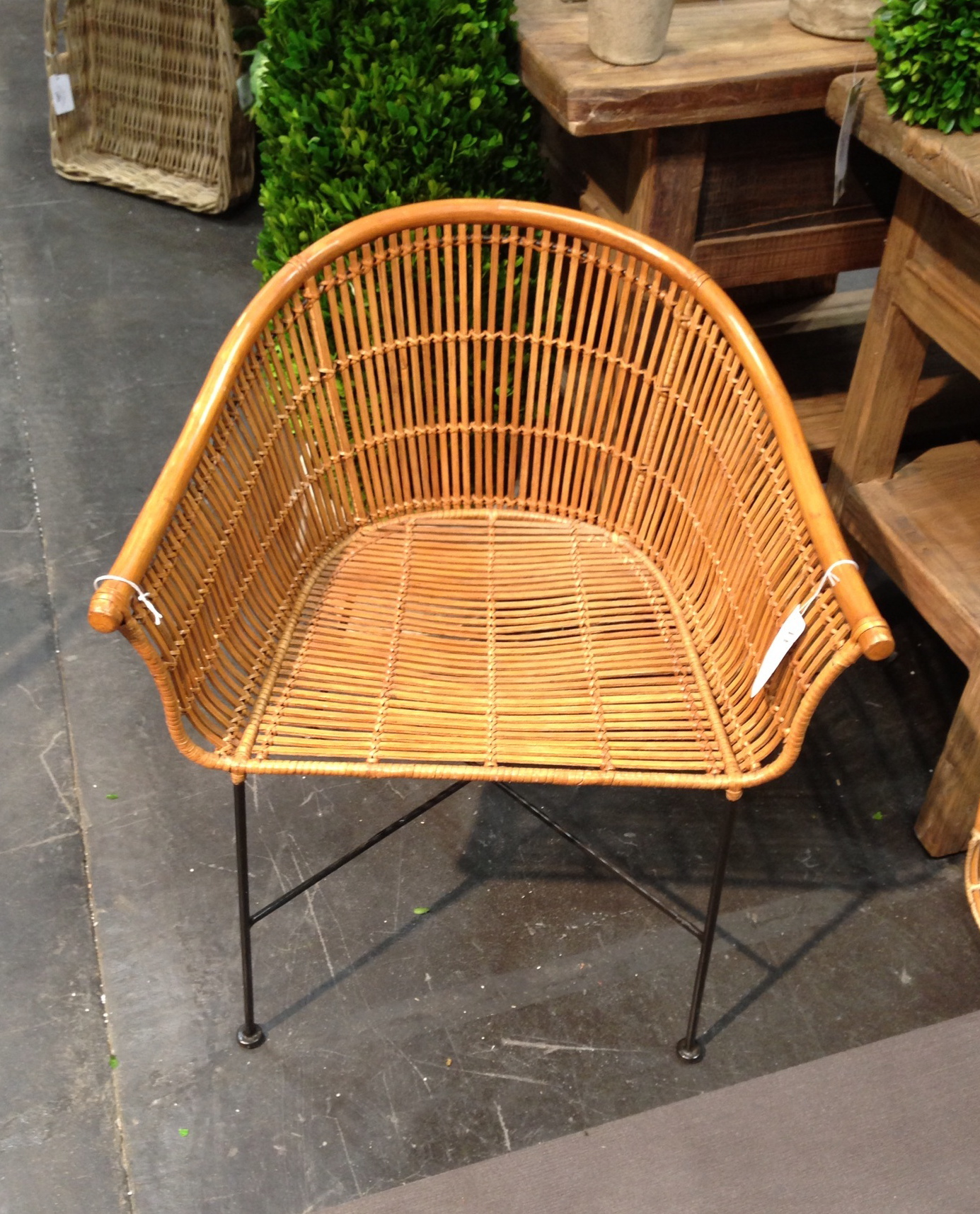 rattan and iron legs of the 60's