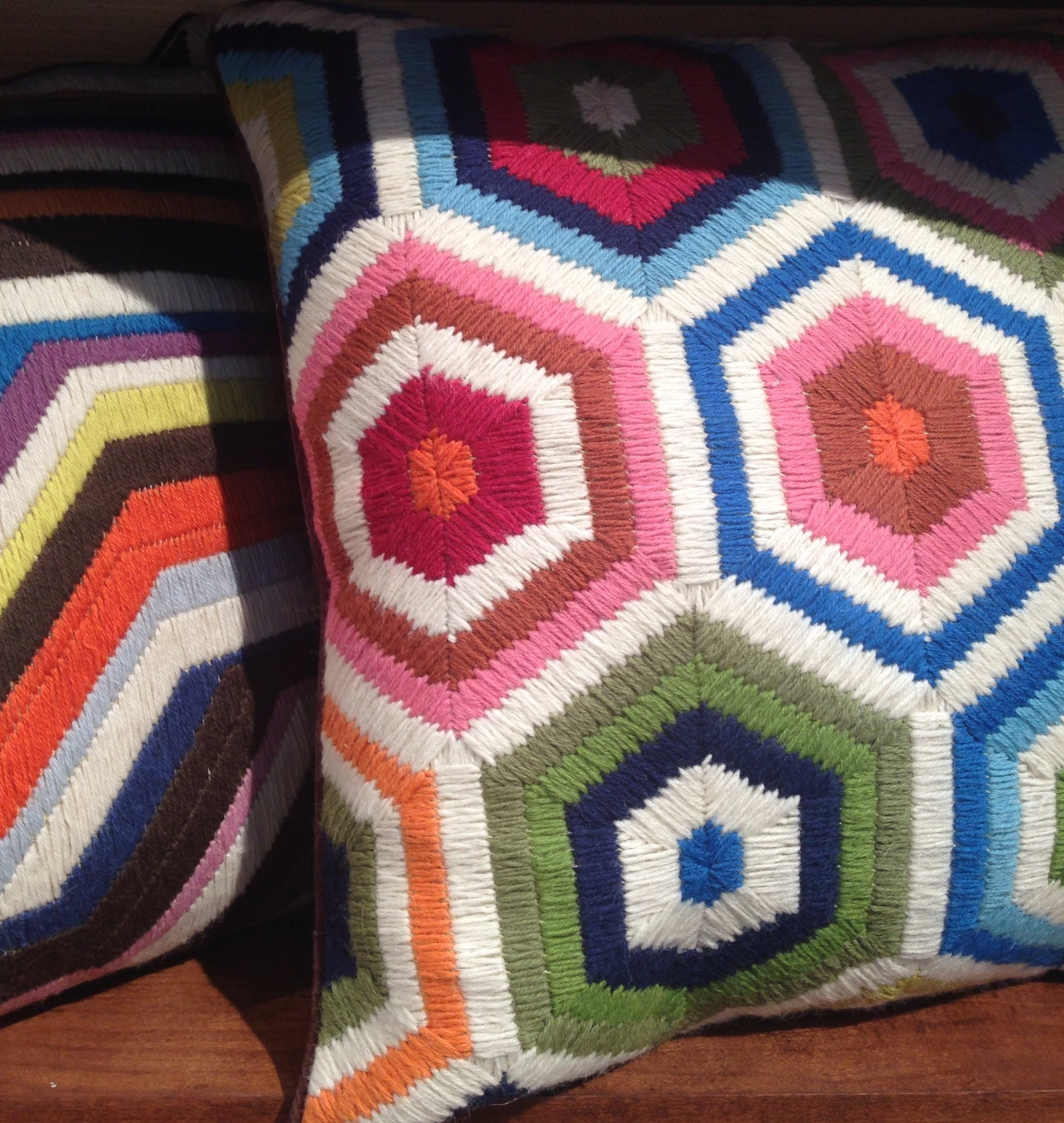 needlepoint bargello and flamestitch pillows of the 70's