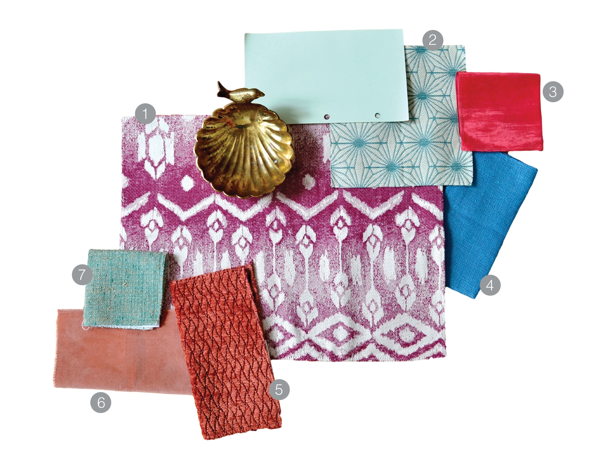 1.  Magenta Ikat  | 2.  Teal Geo  | 3.  Pink moire  | 4.  Blue linen  |  5.  Coral chenille  | 6.  Pink Velvet  | 7.  Teal textured