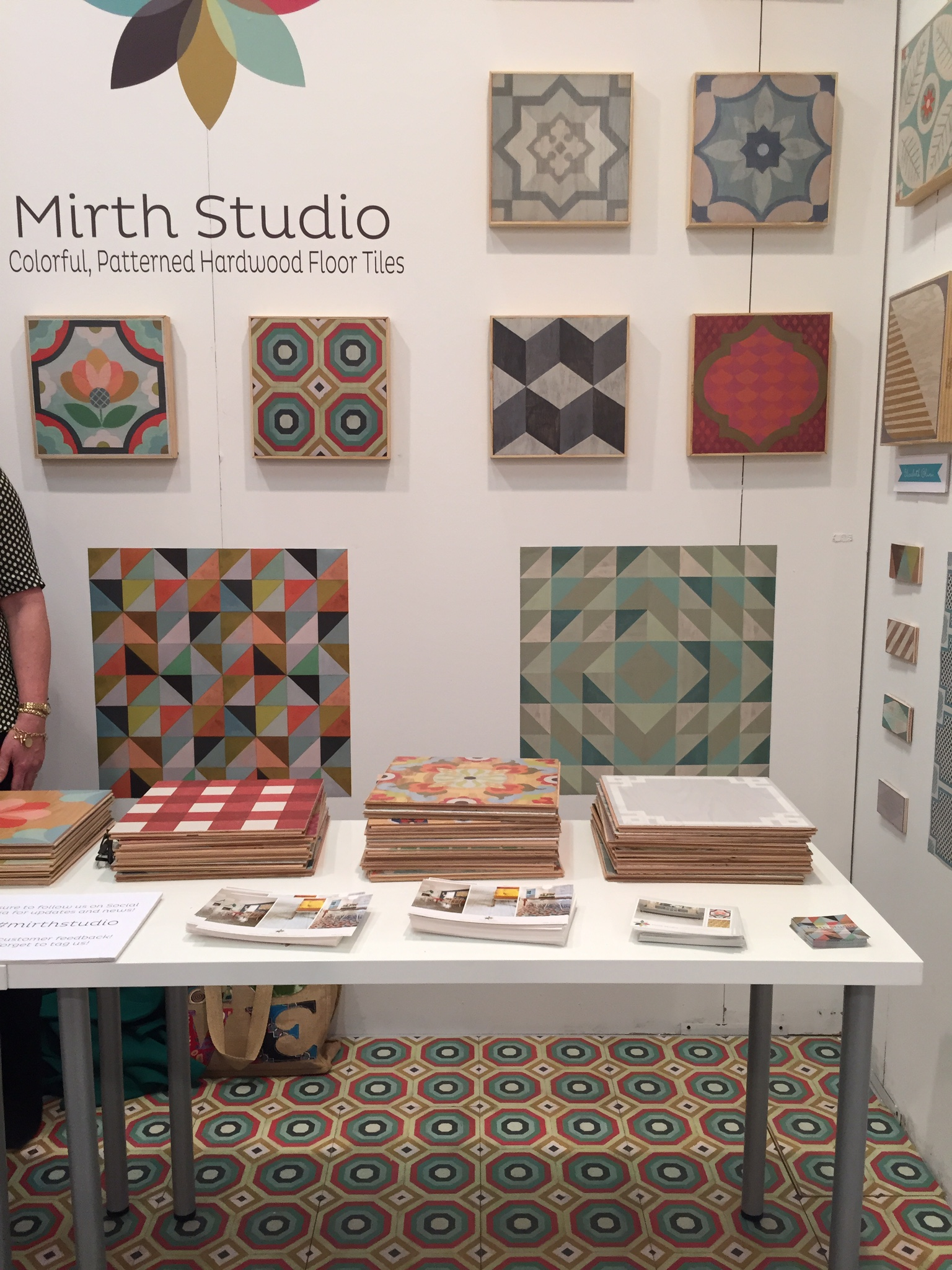 colorful and funky patterned wood floor tiles by Mirth Studio gets us imagining their potential uses.