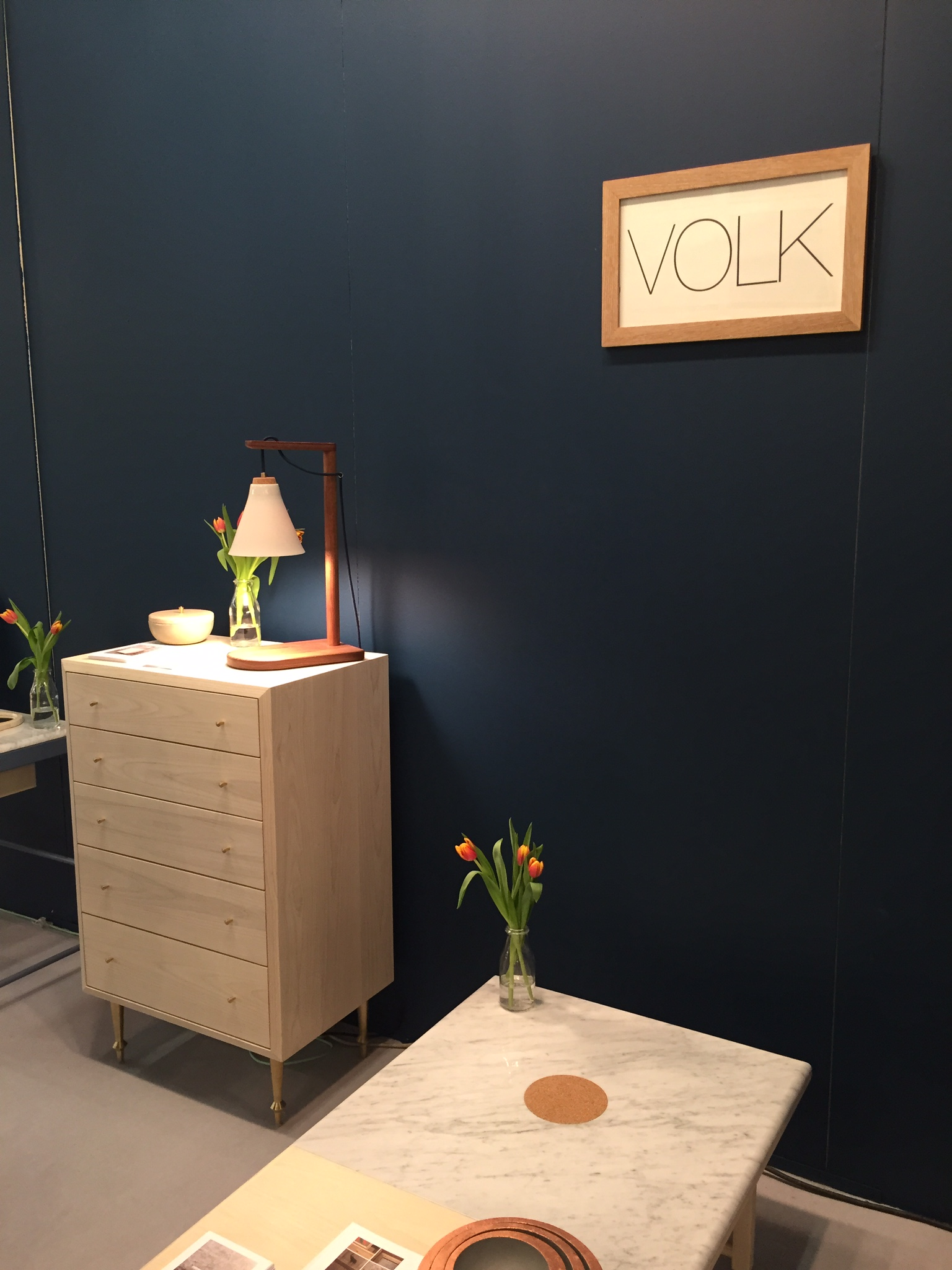 hand crafted wood pieces with brass details by Volk