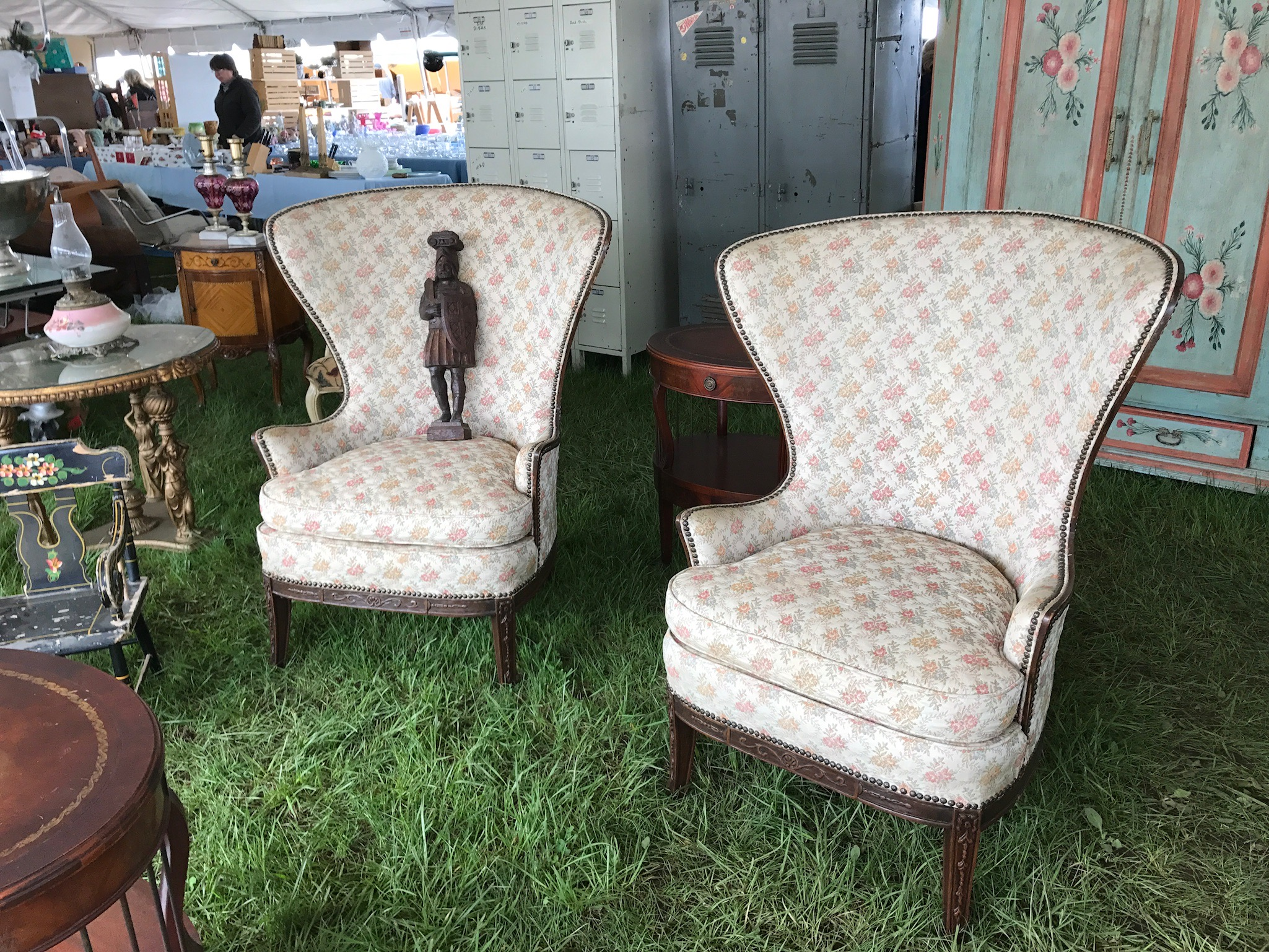 This pair of traditional wing chairs are a classic shape and would look lovely with fresh upholstery.