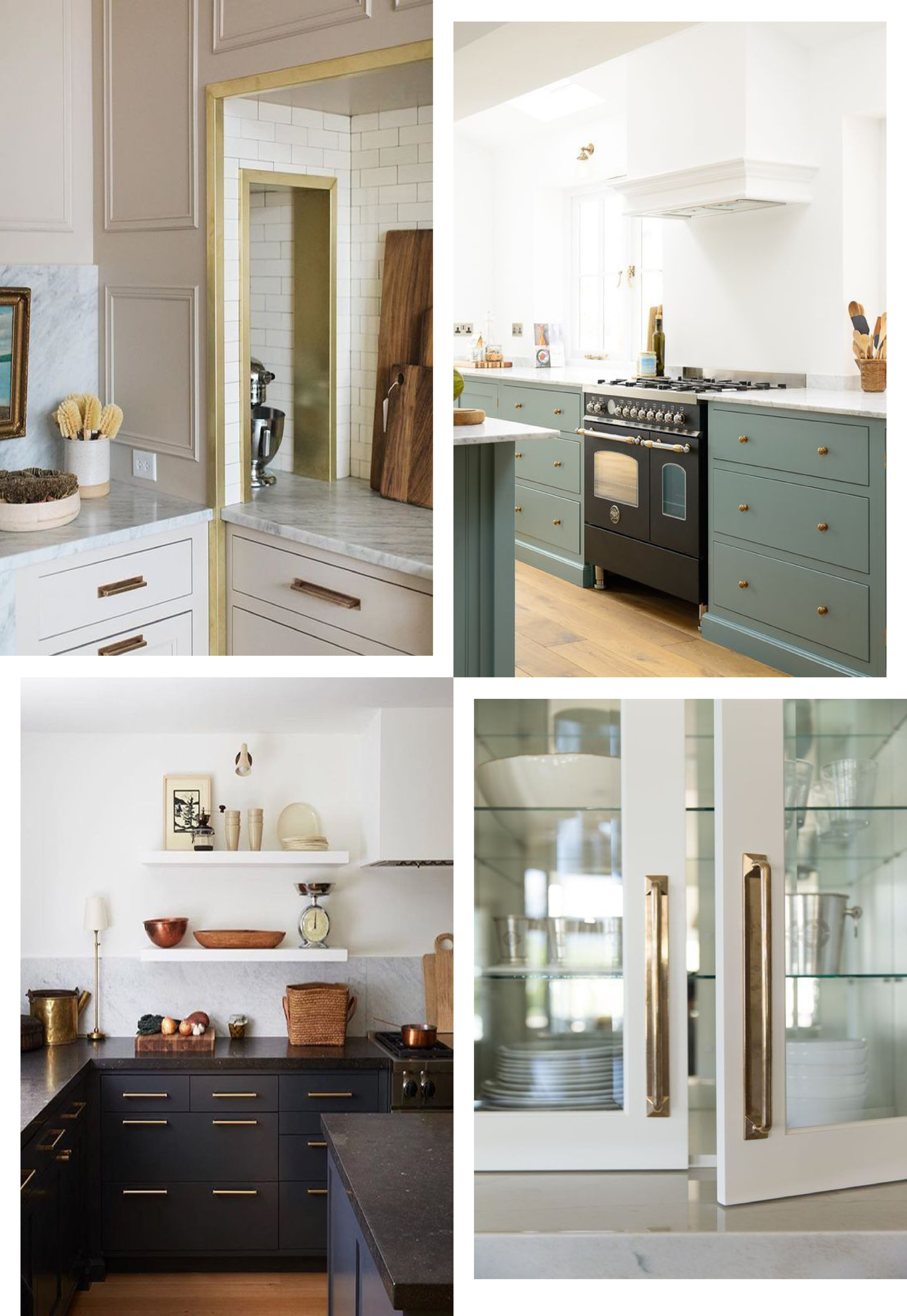 Clockwise from top left:  @jeanstofferdesign  |  @deVOLkitchens  |  @alicelanehome  |  @alyssakapitointeriors