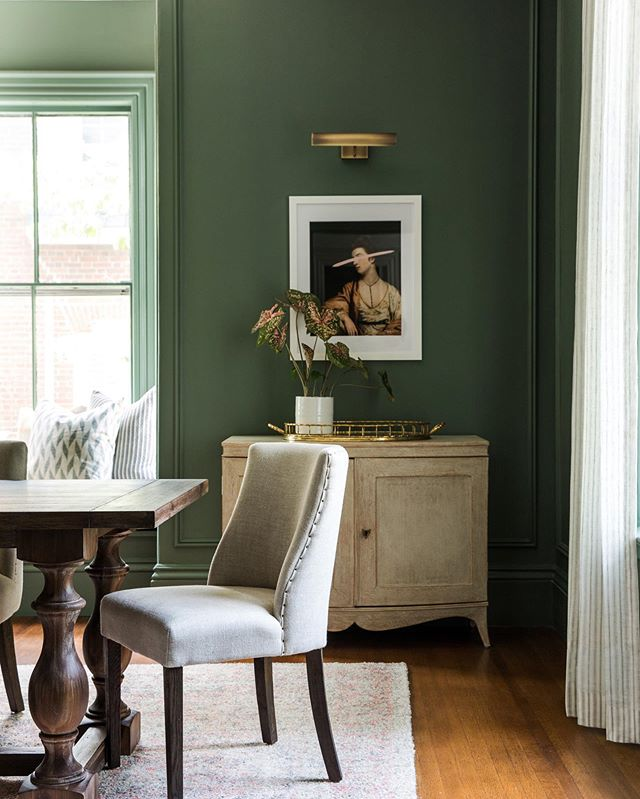 Part two before and after of this historical townhouse dining room up and ready for ya. Check stories for allll the angles! Dining room is @farrowandball Green Smoke.  Design: Rehabitat  Photography: @erinlittlephoto Construction: Curran + Sons