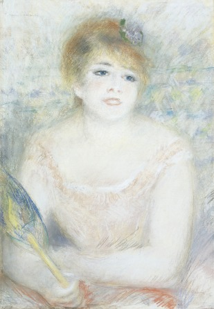 Pierre-Auguste Renoir ,  Mademoiselle Jeanne Samary , painting in pastel, 27 7/16 x 18 3/4 in. permanent collection of the Cincinnati Art Museum.