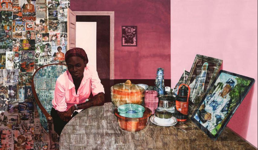 Image:Mama,Mummy and Mamma (Predecessors #2) [detail]- Njideka Akunyili Crosby. 2014, Image courtesy of the Artist and Victoria Miro Gallery.