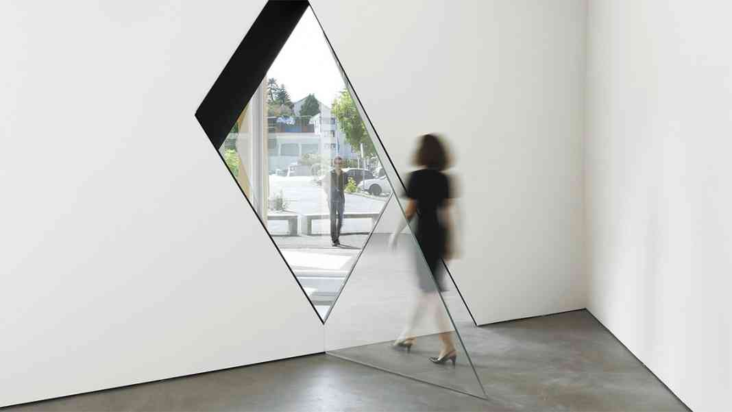 Image: Sarah Oppenheimer,  33-D  , 2014.  Aluminum,glass and architecture.  Total dimensions variable.  Installation views: Kunsthaus Baselland, 2014. Photos © Serge Hasenböhler.