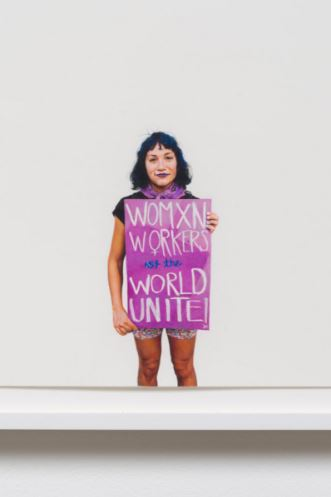 Image: Womxn Workers of the World Unite! (May Day March 2015, Los Angeles, California) [detail]- Andrea Bowers 2016, Colored pencil on paper. Courtesy of the Artist and Susanne Vielmetter Projects, Los Angeles.