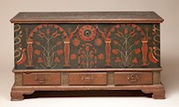 Image: Unidentified Artist, United States, Chest over Drawers, 1803, tulip poplar, brass, iron, and paint, 27 x 50 x 22 ½ in. (68.5 x 127 x 57.1 cm), Courtesy of the Barbara L. Gordon Collection