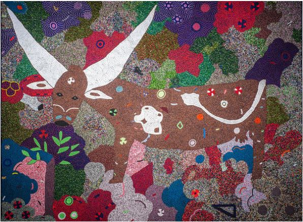 Image: Thando Ntobela, Ankoli Bull, 2013, Glass beads sewn onto fabric. Private Collection.